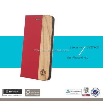2016 protective case for iphone 6s mobile phones original wood flip leather case for wooden iphone 6 case
