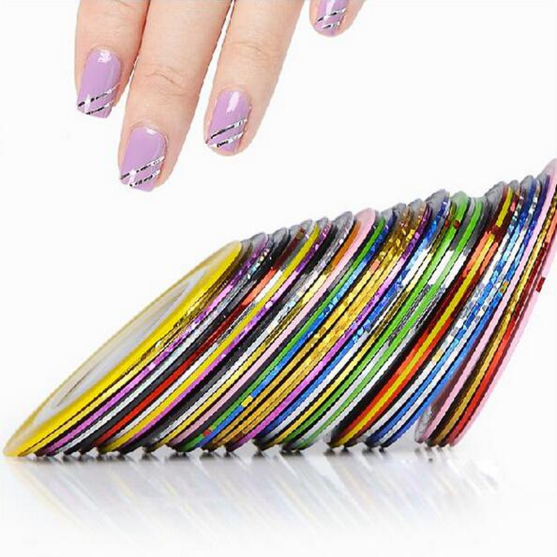 2014 New 10Pcs Mixed Colors Nail Rolls Striping Tape Line DIY Nail Art Tips Decoration Sticker