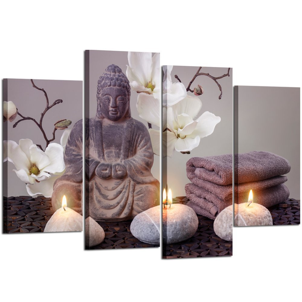 Kreative Arts - 4 Panel Buddha Statue Canvas Prints Wall Art Zen Stone Spa Concept Photo on Canvas Stretched and Framed Artwork for Living Room Yoga Room Home Decorations
