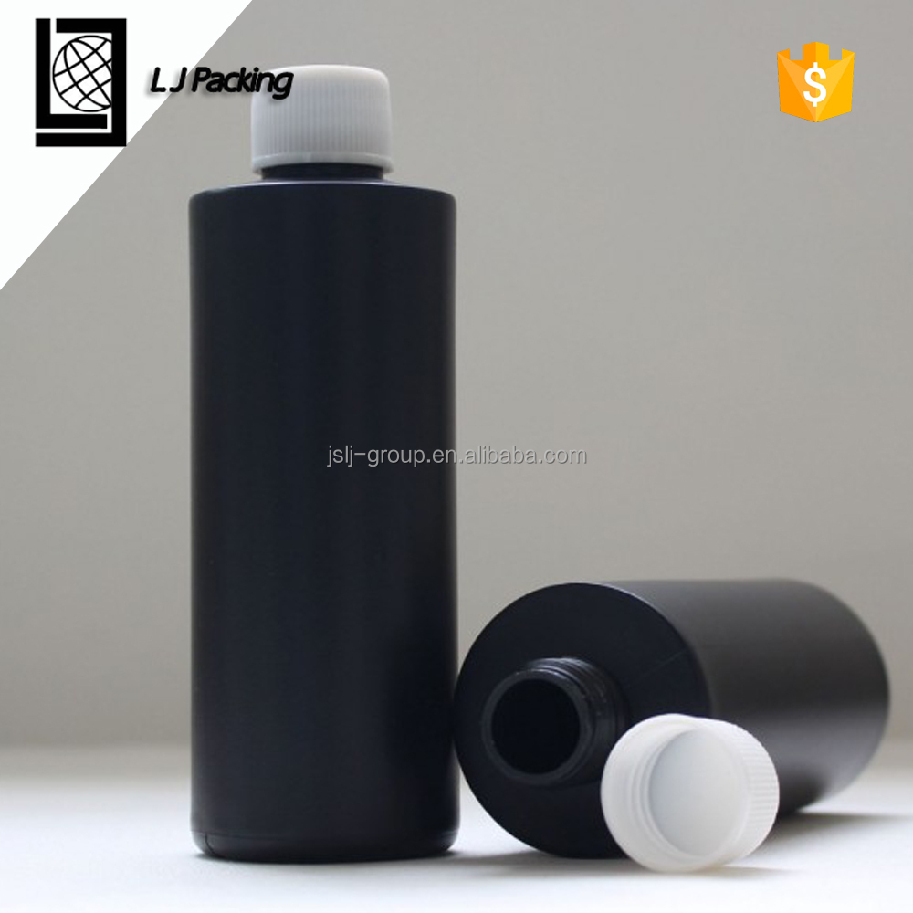 250ml black HDPE plastic flat shoulder round bottles with cap