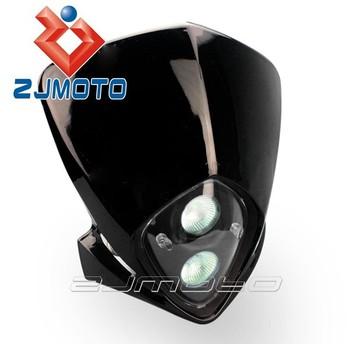 universal crossmotor koplamp zwart stree vechter lichten motorfiets streetfighter hoofd verlichting voor off racefiets lamp motorfietsen