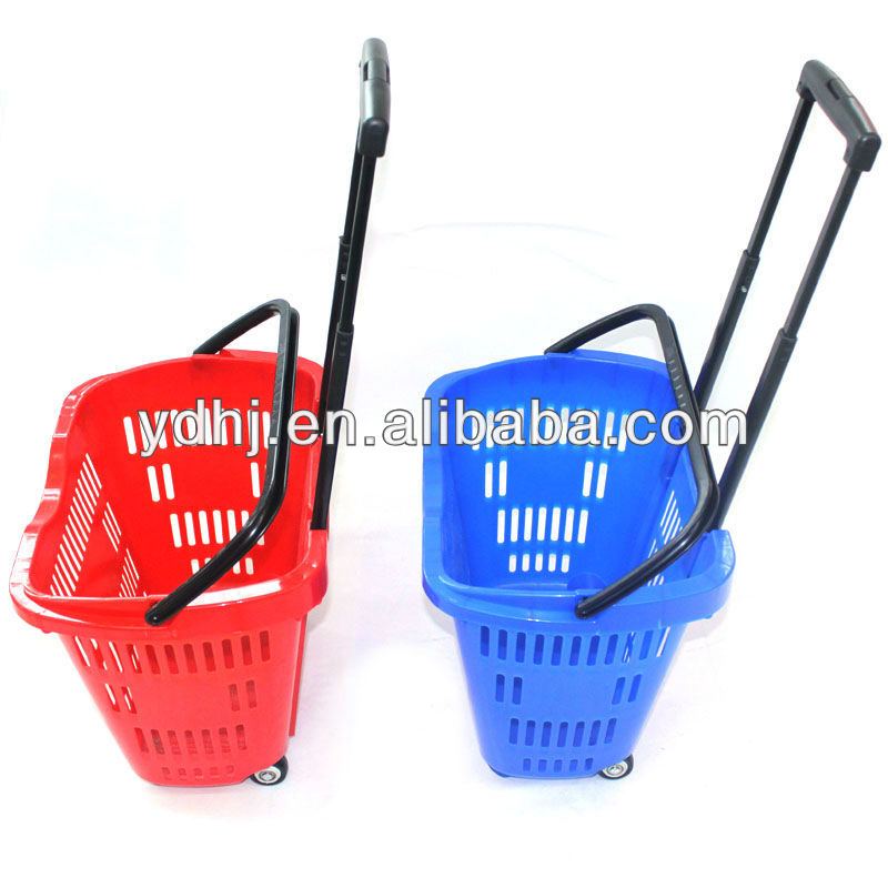 Supermarket Colorful Plastic Rolling Trolley Shopping Baskets With Wheels
