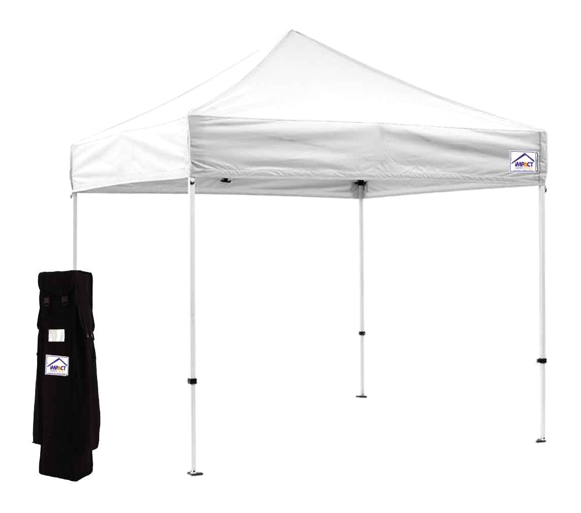Impact Canopy 10x10 EZ Pop Up Canopy Tent Instant Canopy with Roller Bag (Choose Color) (White)