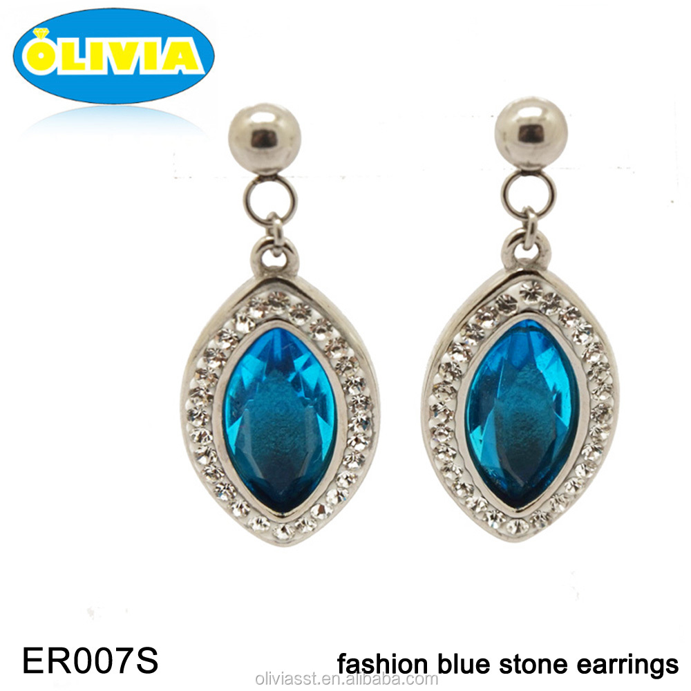 Olivia Costume Jewelry Stainless Steel Blue Cubic Zirconia Drop Earrings,New Designs Gold Jhumka Earring