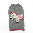 2019 nice Unicorn bow tie grey fleece pet sweater dog fashions clothes Fashion clothing cartoon cute pattern