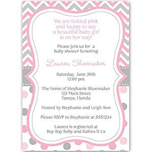 Baby Shower Invitations, Baby Girl, Chevron Stripes, Polka Dots, Pink, Gray, Grey, Sprinkle, Personalized, Customized, Set of 10 Printed Invites and Envelopes, Chevron Stripes & Dots