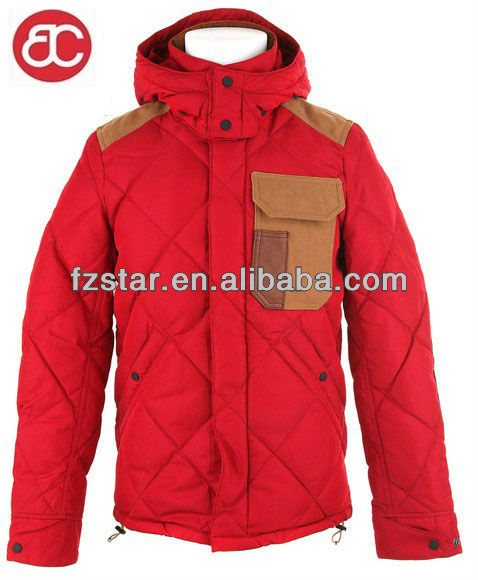 diamond quilted warm outdoor with hood men long bomber jacket