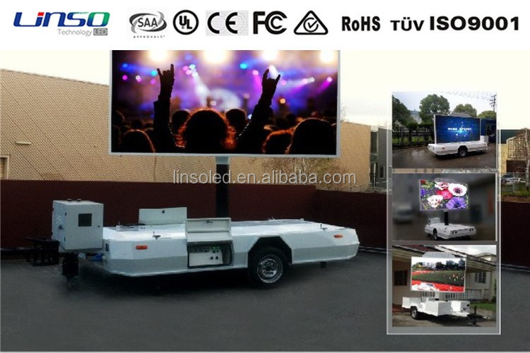 Shanghai digital signage factory Linso outdoor moving led display trailer/trailer gemonteerd led display