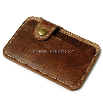 Unisex Brown Glossy Oil Waxed Leather Card Sleeve With Clasp