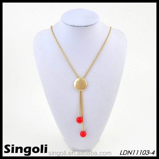 Wholesale gold plated snake chain long lariat necklace, can be engraved monogram
