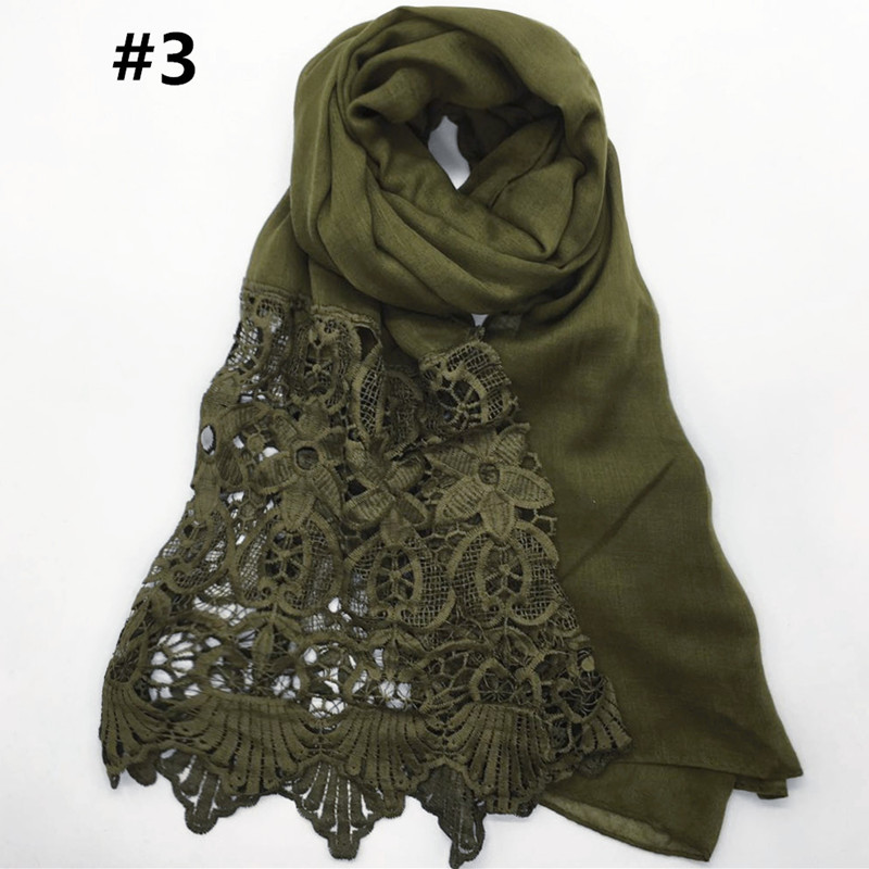 HOT sale headscarf shawl lace flowers side stylish warm blanket gorgeous wrap shawl muslim scarf hijab