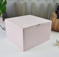 Luxury design cardboard pink paper box for flower package with hotfoil gold lines square shape