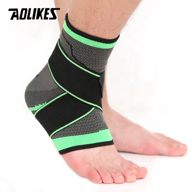 3D Weaving Elastic Nylon Strap Ankle Support Brace Badminton Basketball Football Taekwondo Fitness Heel Protector, Black;green