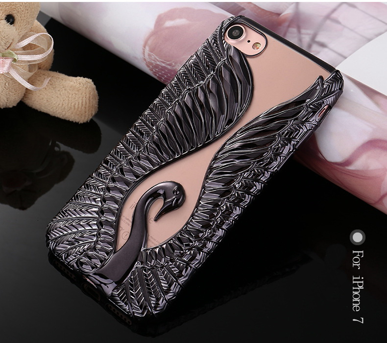 3D Swans Bling Royal Palace Plating Tpu Phone Case For Iphone 7 mobile phone accessory