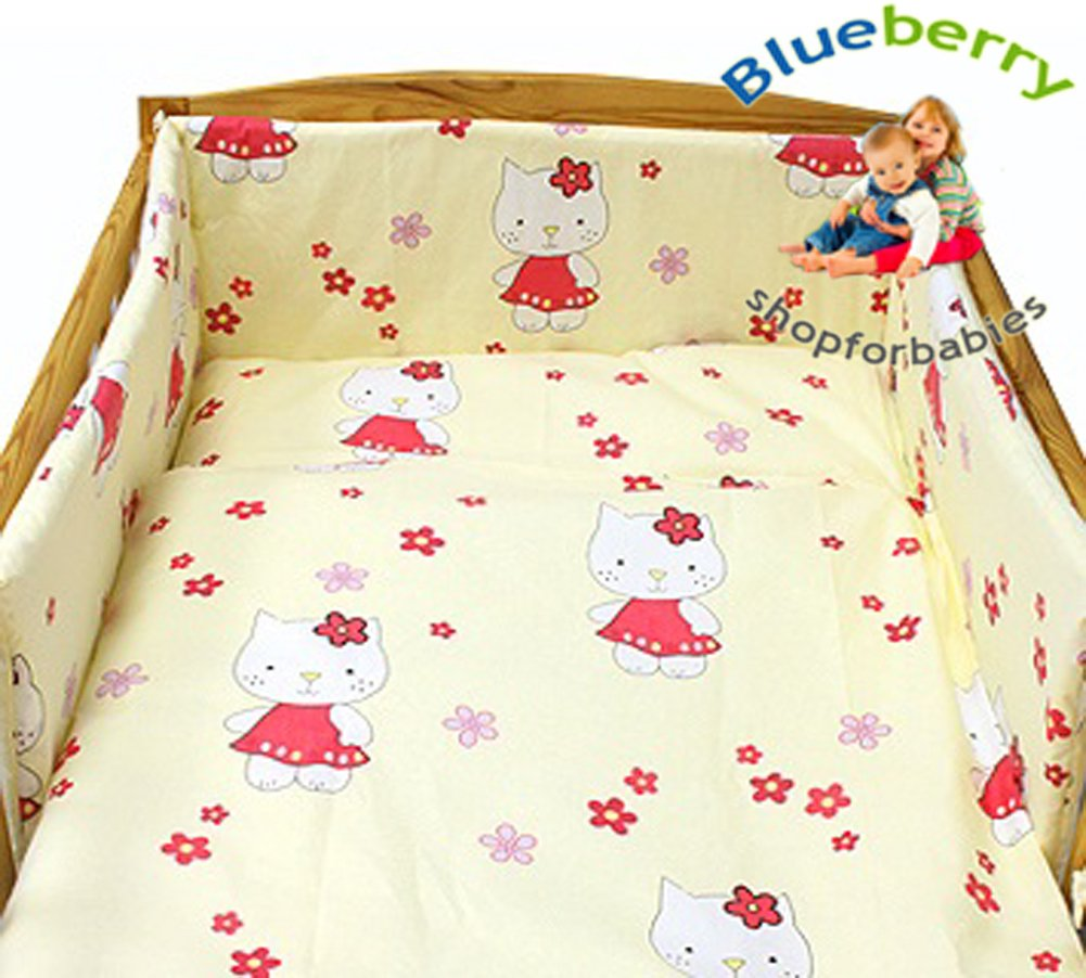 0-7Yrs 150 x 120 cm 47 x 59 Cream Kitty BlueberryShop 2 pcs BABY COT BED BUNDLE BEDDING SET DUVET+PILLOW COVERS matching cot bed 120 x 150 cm