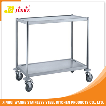 Stainless steel round tube hotpot trolley hotel room for Hotel room service cart