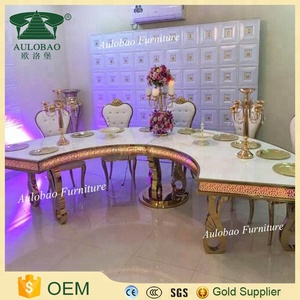 Aulobao Dining furniture banquet used half round mdf wedding table