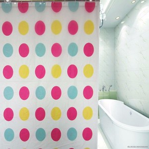 circle design printed PEVA shower curtain,unique led shower curtain free sample
