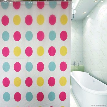 Circle Design Printed PEVA Shower Curtainunique Led Curtain Free Sample