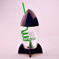 300ML Rocket shape resuable hard plastic cup with swirly straw