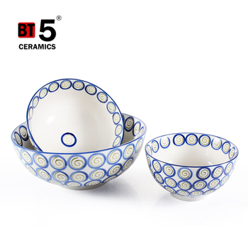 Several kinds round high-capacity hand painted ceramic rice bowl for sale