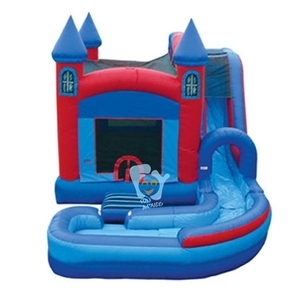 pvc tarpaulin inflatable bouncy castle with water slide