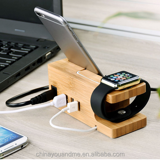 2 in 1 Wooden Charging Station for Mobile фото
