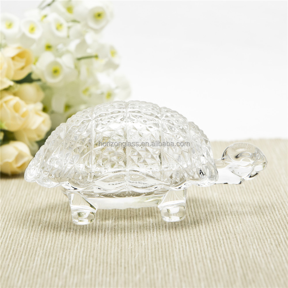 Turtle shape clear crystal glass plate with glass lid bathroom accessories clear soap glass palte
