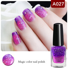 1 Bottle 6ml Purple Rose Red Peel Off Temperature Color Changing Thermal Nail Polish Nail Varnish