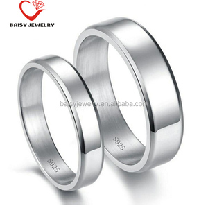 china factory best selling custom silver rings plain blank hand stamped jewelry 925 sterling silver couple engagement rings
