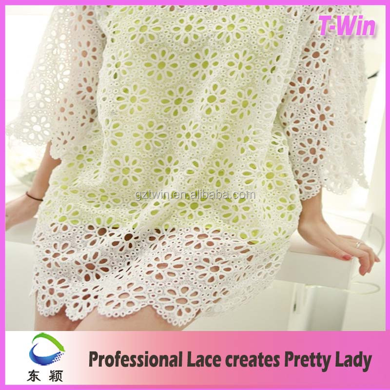 Good quality white embroidery french cord milk silk lace fabric for garment