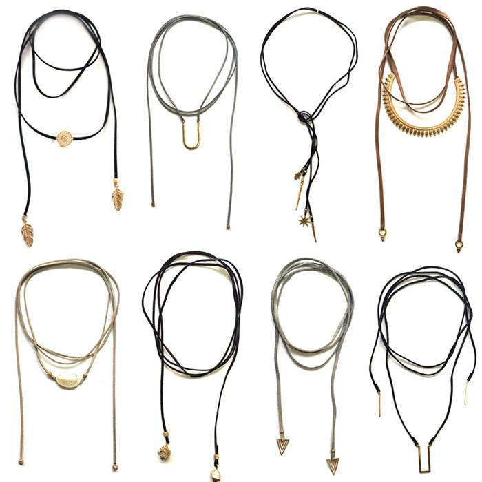 2016 el último diseño de moda suede cuero cuerda choker collar, bisuteria colgante collares