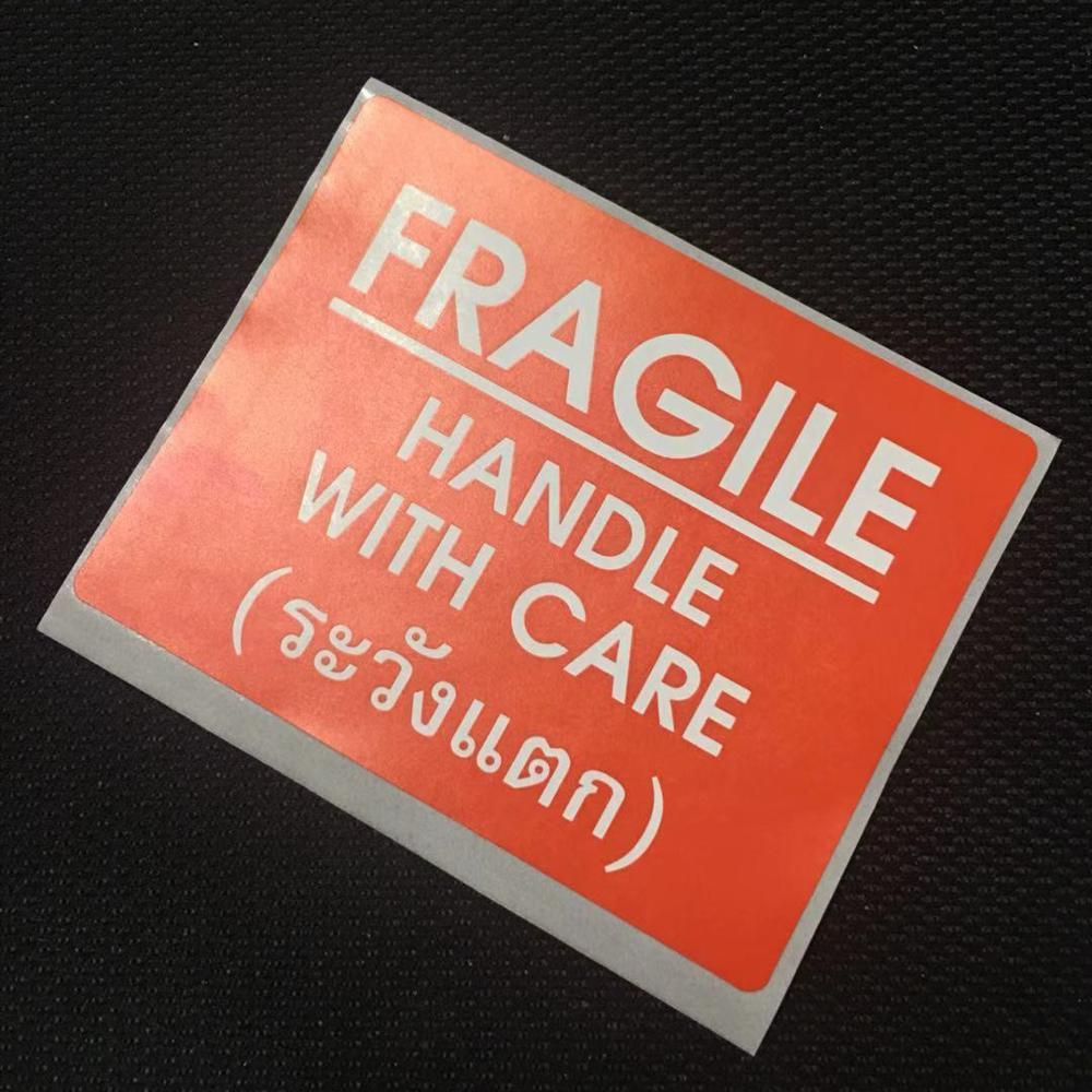 Zelfklevend papier label sticker breekbaar waarschuwing label handvat met zorg
