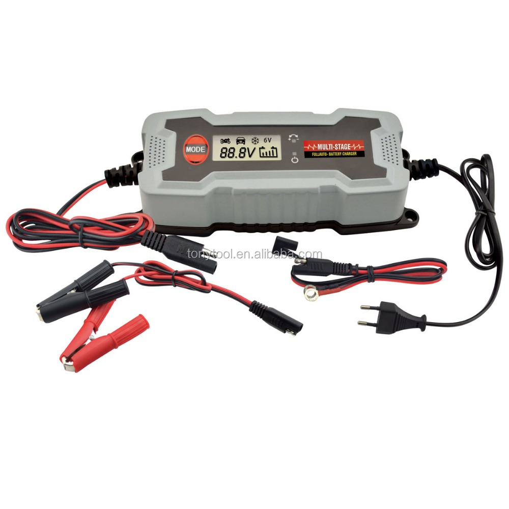 LCD display 6v /12v intelligent portable car battery charger motorcycle battery charger/maintainer
