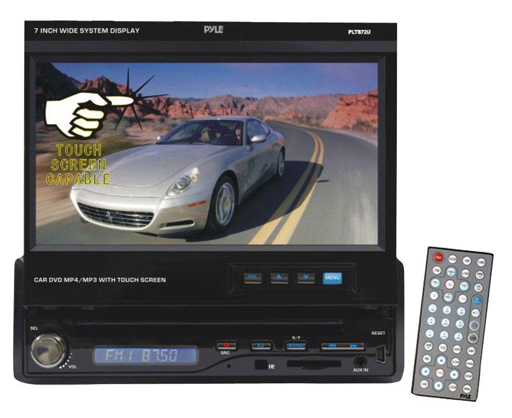 PYLE PLTS72U 7-Inch Single DIN In-Dash Motorized Touch Screen TFT/LCD Monitor with DVD/CD/MP3/MP4/USB/SD/AM-FM/RDS Receiver