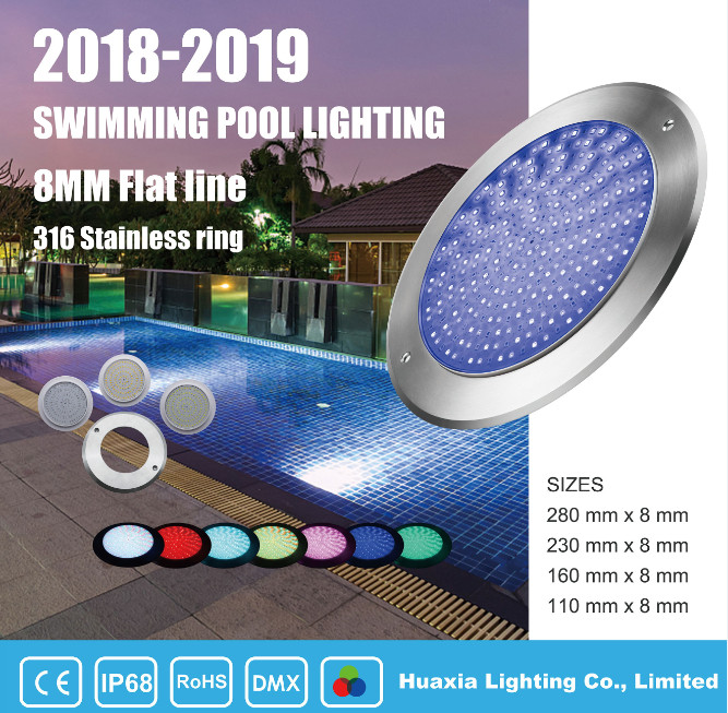 Ultrathin 10mm IP68 Wall Mounted 12V piscina LED Swimming Pool Light 35W RGB Underwater Lamp Pool Lighting