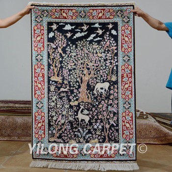 3 X4 5 Blue Tree Of Life Pictorial Persian Silk Carpets Hand Knotted