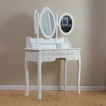 wholesale cheap white bedroom three mirror dresser with chair