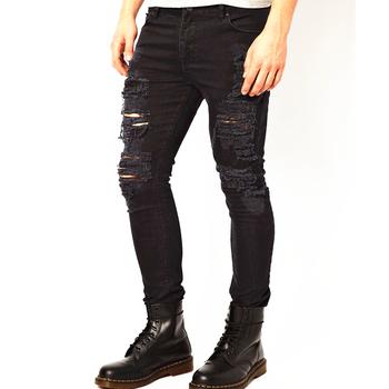 93a8c14c5cfa5 Negro Super Skinny de denim Pantalones vaqueros de Hombre denim Pantalón  fábrica de jeans en la