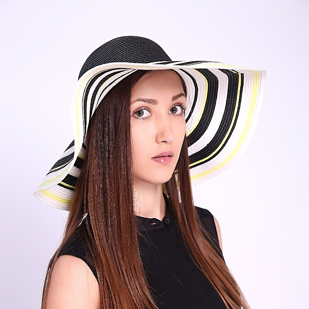 c7d6faf4852a4 2 Color 2015 Summer Striped Pattern Design Sun Protection Floppy Brand New  Design Beach Foldable Straw Hat Women