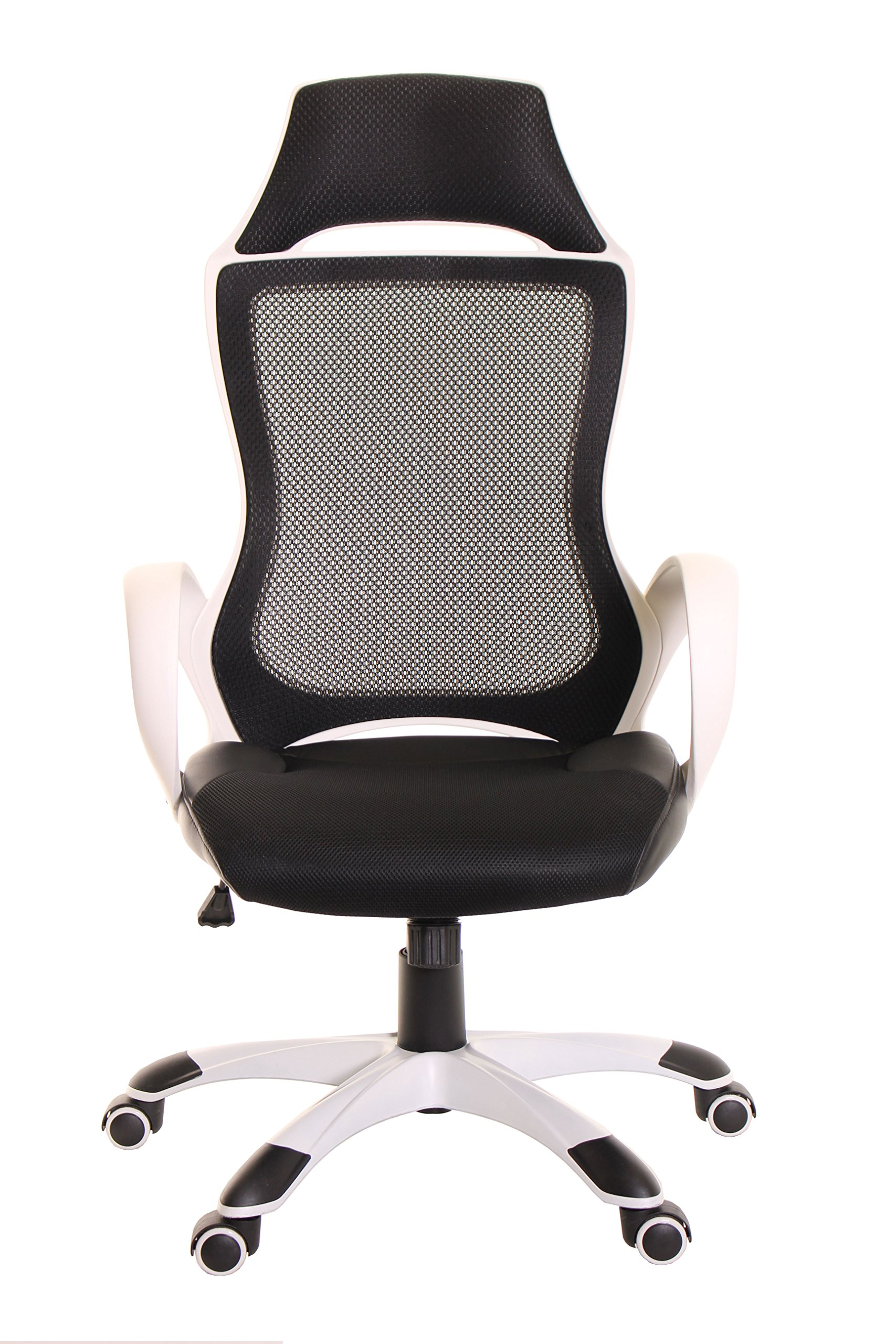 TimeOffice High Back Mesh Executive Chair With Headrest, Ergonomic Computer Black PU Leather Desk Chair, Comfort Office Task Chair & Best Desk Swivel Recliner Chair For Home, Office Chair – Black