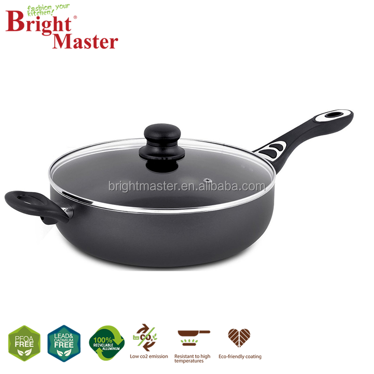 Aluminum Nonstick 11inch Deep Frying Pan with Glass Lid