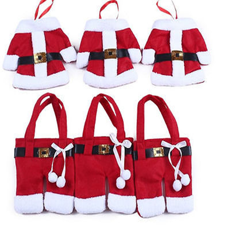 6Pcs Xmas Santa Claus enfeites de natal Red high quality Wine Bottle Cover Bags navidad Table Dinner christmas decoration