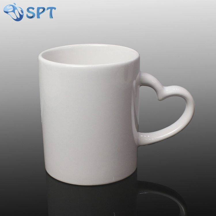 11OZ white mug sublimation, GUANGZHOU sublimation mugs ,sublimation mug heart handle
