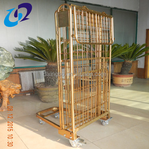 Top quality industrial hand push folding rolling cage trolley cart