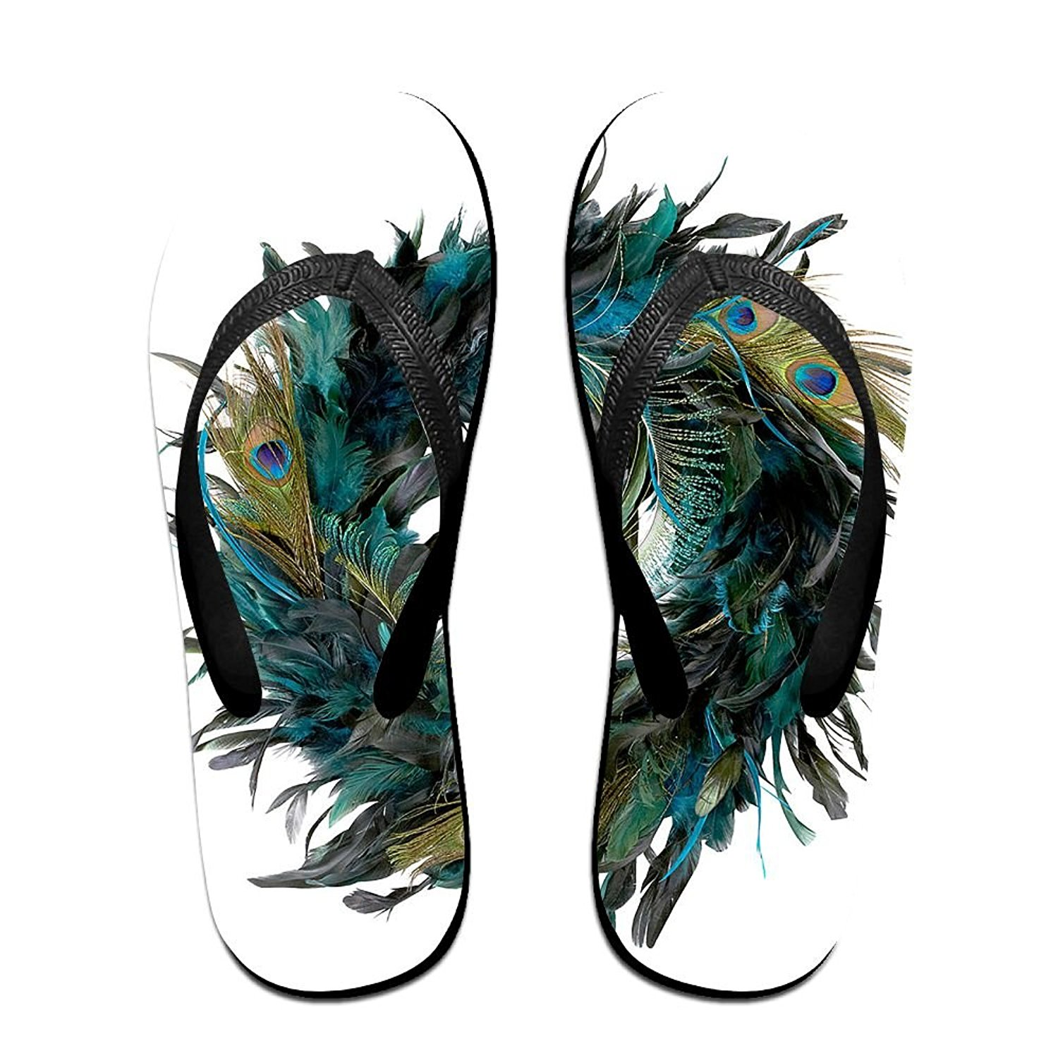7805b755a3aa01 Get Quotations · Unisex Summer Peacock Feathers Beach Slippers Home  Flip-Flop Flat Thong Sandal Shoes