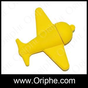 Promotional Yellow plane shape PVC gift USB Memory Flash