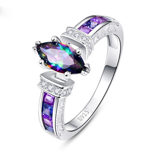 New Arrival 925 Silver Plated Blue Stone Zircon Vintage Rings