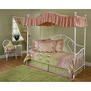 Hillsdale Bristol Girls Canopy Metal Daybed in White Finish - Daybed with Roll-Out Trundle