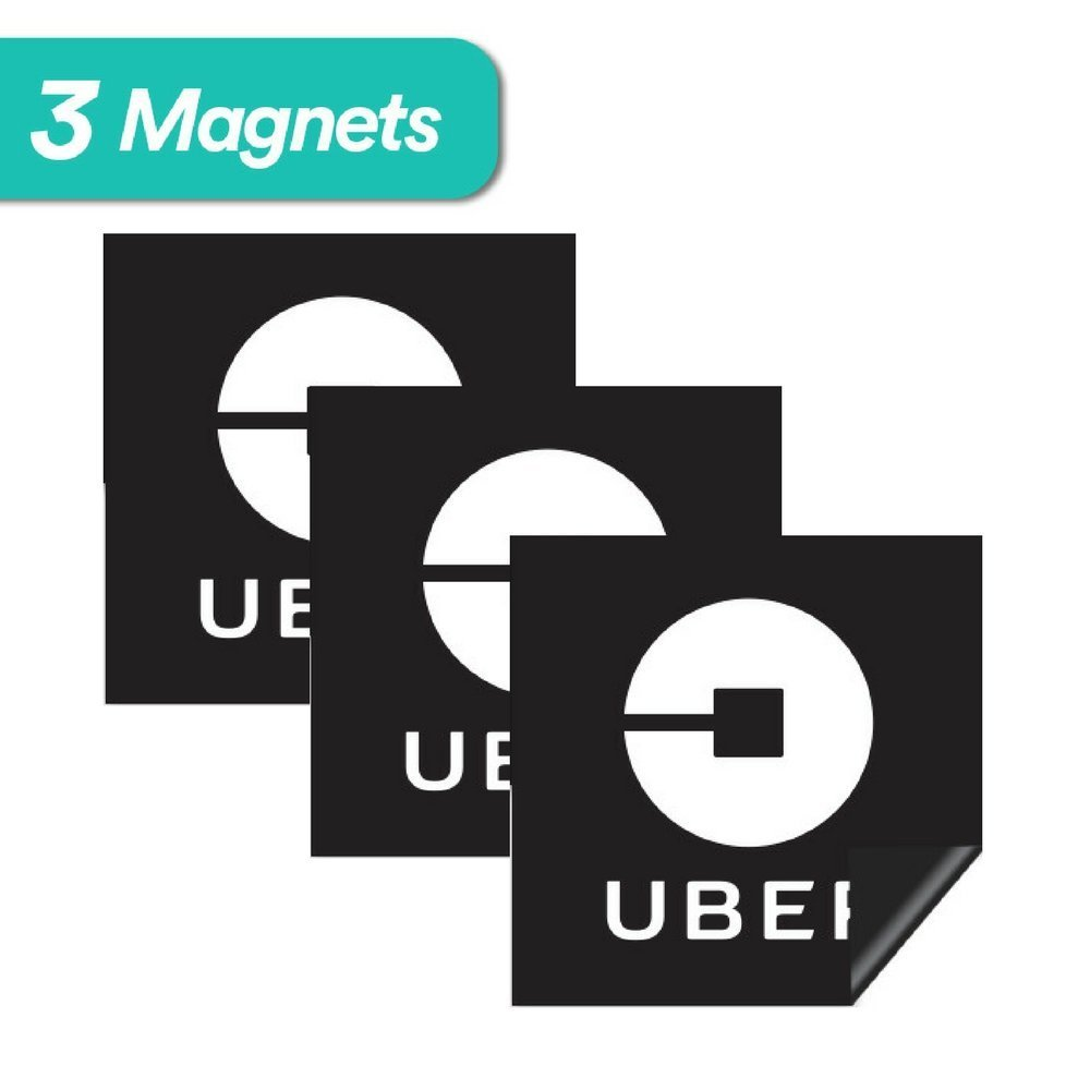 """Uber Sign Magnet - 3 Premium Magnets Bulk Pack - [5""""x5"""" inches] - Durable Car Door/Bumper Magnet w/ Highly Reflective Vinyl - Sign for Uber, Lyft, and Rideshare Drivers (3Pack Uber Magnet)"""